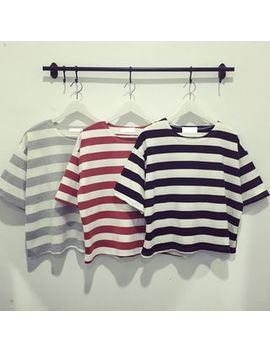 Striped Elbow Sleeve T Shirt by Susurro