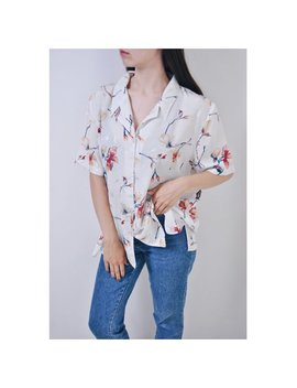 Vintage Hawaiian Shirt, 90s Floral Blouse, Womens Flowers Top, White Button Down, Size M by Etsy