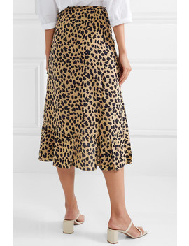 Gracie Leopard Print Silk Crepe Wrap Skirt by Rixo London