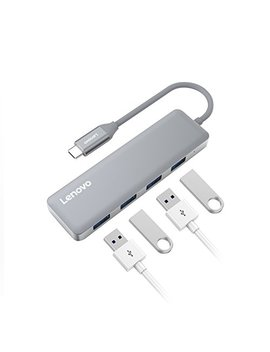 Usb C Hub, Lenovo Aluminum Type C Adapter With 4 Usb 3.0 Ports, Portable For Mac Book Pro, Chromebook And More by Lenovo