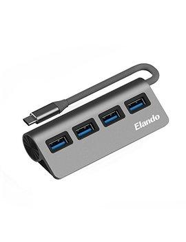 Usb C Hub, Elando Usb Type C To Usb 3.0 Adapter With 4 Usb 3.0 Ports, Aluminum Data Hub For I Mac Pro, Mac Book Pro 2017, Dell Xps 13, Google Chromebook And More by Elando