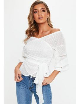 White Dobby Mesh Gathered Sleeve Tie Blouse by Missguided
