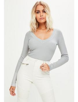Grey Ultimate Plunge Knitted Bodysuit by Missguided