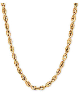 "22"" Rope Chain Slider Necklace In 14k Gold by Macy's"