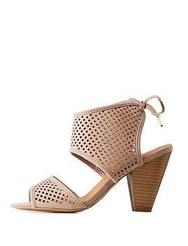 Perforated Ankle Sandals by Charlotte Russe