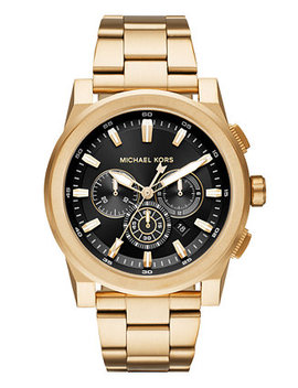 Men's Chronograph Grayson Gold Tone Stainless Steel Bracelet Watch 47mm by Michael Kors