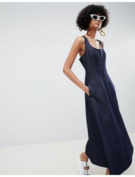 Asos Design Denim Seamed Midi Dress In Indigo by Asos Design