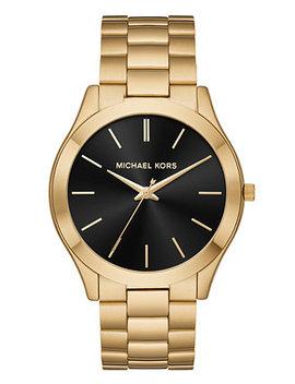 Men's Slim Runway Gold Tone Stainless Steel Bracelet Watch 44mm by Michael Kors