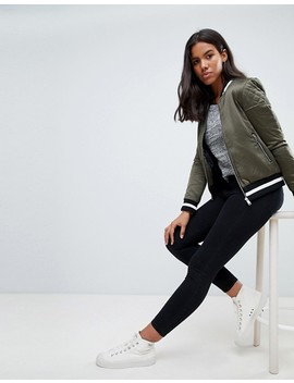 Brave Soul Absolute Bomber Jacket With Stripe Rib Trim by Asos