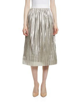 Mikaela Pleat Metallic Skirt by Alice + Olivia