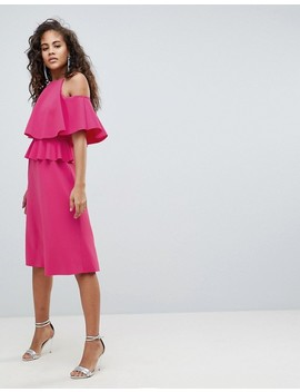 Asos Design Tall Midi High Neck Ruffle Skater Dress by Asos Design