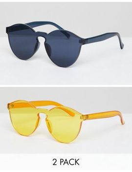 7 X   Confezione Da 2 Occhiali Da Sole Rotondi Con Montatura In Plastica by Asos