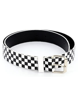 Black/White Checkered 80's Punk Genuine Leather Belt by Painful Pleasures