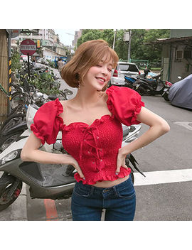 Puff Sleeve Lace Up Smocked Blouse by Chuu