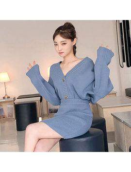 Set: V Neck Buttoned Cardigan + Knit Pencil Miniskirt by Chuu
