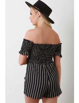 Smocked Off The Shoulder Striped Romper by Urbanog