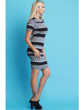 Striped Short Sleeve Sweater Dress by Urbanog