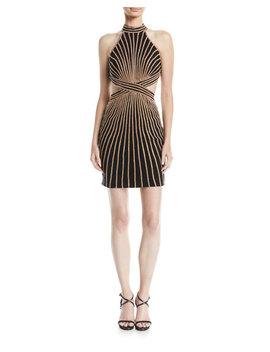 Striped Halter Dress W/ Cutouts by Jovani