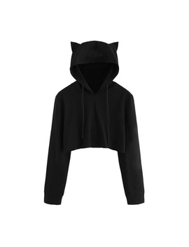 Feitong Cute Womens Sweatshirts Hoodie Crop Tops Solid Cat Ear Long Sleeve Cropped Sweatshirt Hooded Pullover Tolstovka #L by Feitong