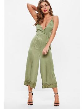 Khaki Cami Deep Cuff Culotte Jumpsuit by Missguided
