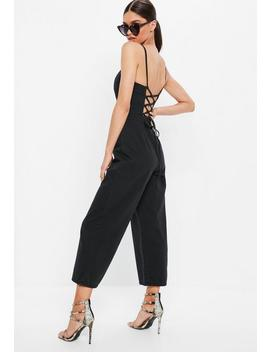 Black Cross Over Culotte Jumpsuit by Missguided