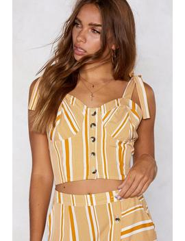 Mustard Stripe Cropped Corset Top by Nasty Gal