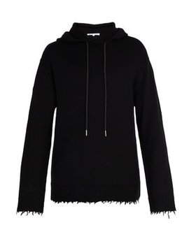 Distressed Wool Hooded Sweater by Helmut Lang