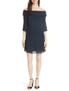 Bardot Pleated Off The Shoulder Chiffon Minidress by Ted Baker London