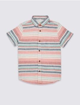 Linen Rich Striped Shirt (3 16 Years) by Marks & Spencer