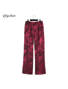 Qlychee Retro Loose Women Pants Trousers Full Length Dragon Embroidery High Waist Flat Pockets Female Casual Pants 2017 Ol Pants by Qlychee