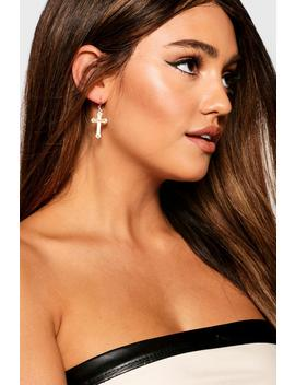 Erin Cross Charm Hoop Earrings by Boohoo