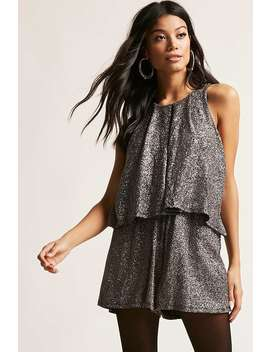 Metallic Knit Romper by Forever 21