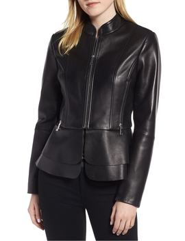 Thea Peplum Hem Leather Jacket by Tahari