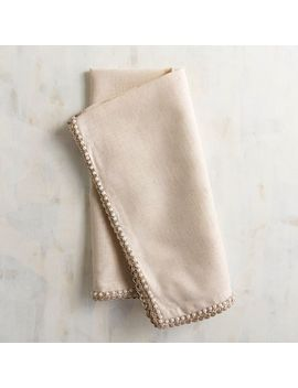 Cream Napkin With Lace &Amp; Pearl Trim by Pier1 Imports