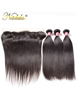 Nadula Hair 3 Bundles Straight Hair With Lace Frontal Closure 100 Percents Human Hair Weave 13*4 Frontal Natural Color Remy Hair   by Nadula