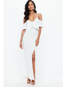 White Strappy Frill Fishtail Maxi Dress by Missguided