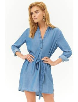 Chambray Popover High Low Shirt Dress by Forever 21