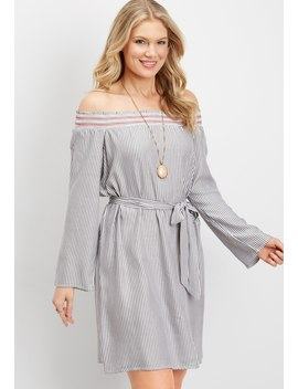 Love, Fire Striped Off The Shoulder Dress by Maurices