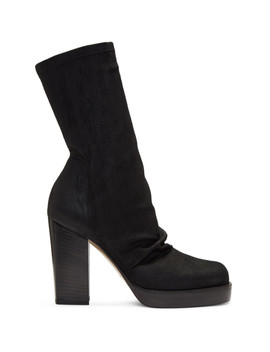 Black Chunky Sock Boots by Rick Owens
