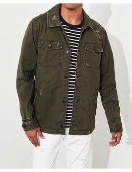 Ripped Twill Shirt Jacket by Hollister