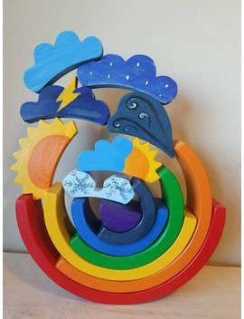Rainbow Puzzle And Weather Toppers, Weather Toys, Waldorf Inspired, Montessori Inspired, Open Ended Toys, Wooden Toys by Etsy