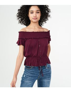 Solid Off The Shoulder Peasant Top by Aeropostale