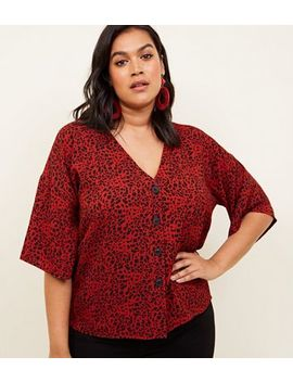 Curves Red Leopard Print Boxy Shirt by New Look