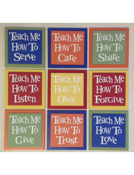 Teach Me Signs   How To Love, Listen, Care, Trust, Obey, Share, Give, Forgive, Serve   Set Of 9   Rainbow   Nursery Wooden Wall Decor Art by Etsy