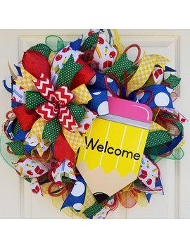 Back To School Wreath, Classroom Wreath, Teacher Wreath, Homeschool Wreath, School Decor, Classroom Decor, Homeschool Supplies by Etsy