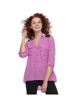 Juniors' Candie's® Printed Lace Blouse by Juniors' Candie's