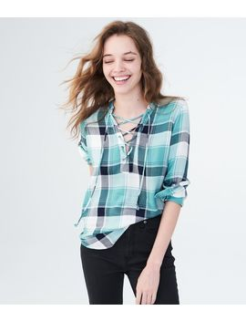 Long Sleeve Lace Up Plaid Woven Shirt by Aeropostale