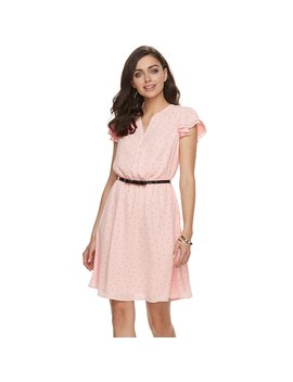 Women's Elle™ Print Layered Sleeve Fit & Flare Dress by Kohl's