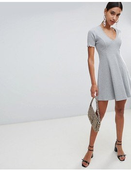 Asos Design V Neck Skater Mini Dress In Rib by Asos Design