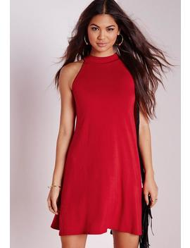 High Neck Jersey Racer Swing Dress Red by Missguided